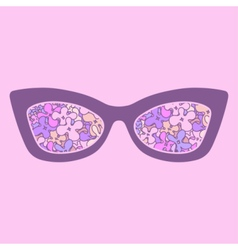 Glamour sunglasses with flowers reflection vector