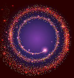 Gold glittering star dust spiral bright tail of a vector
