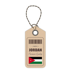 hang tag made in jordan with flag icon isolated on vector image