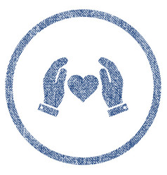 Love care hands rounded fabric textured icon vector