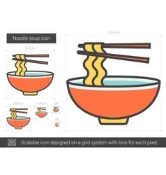 Noodle soup line icon vector
