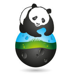 Panda and the earth symbol vector