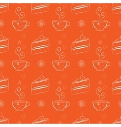Seamless pattern with cakes and teacups vector image
