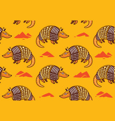 Seamless pattern with cute cartoon armadillo vector