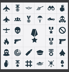 Set of simple combat icons elements terrorist tank vector