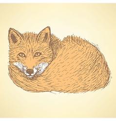 Sketch cute fox in vintage style vector image