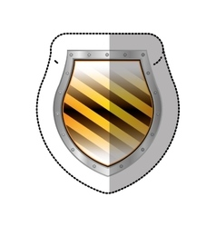 Sticker metallic rounded borders shield with vector