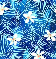 Tropical palms seamless pattern in blue with vector image