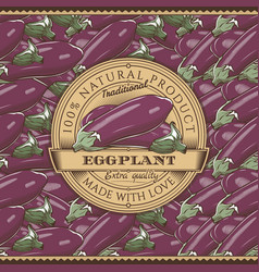 Vintage eggplant label on seamless pattern vector