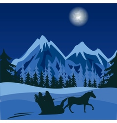 Winter night in mountain vector image vector image