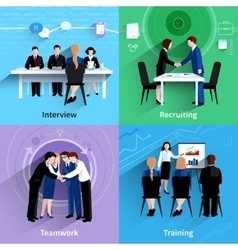 Human resources 4 flat icons square vector
