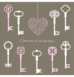 Vintage keys and keyhole in the shape of heart vector