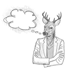 Skech of hipster deer with a empty speech bubble vector image