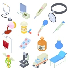 Medical icons set isometric style vector