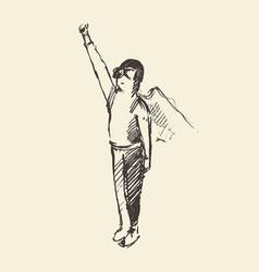 Drawn boy waving cloak freedom happiness vector