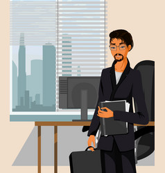 young businessman in office vector image
