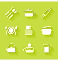 Set of white cutlery and dishes icons vector