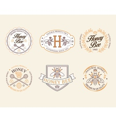 Honey and bees badges labels for any use vector image