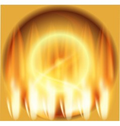 Abstract fire circle gold background vector