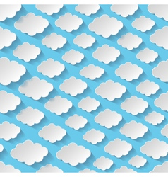 Seamless pattern with paper clouds vector