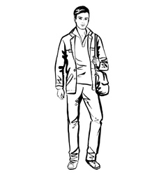 Man walking on street vector