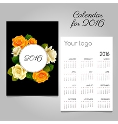 Calendar 2016 with roses bud ornament in black vector