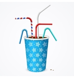 Drinking straws and blue cup vector