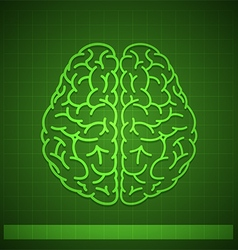 Human brain concept on green background vector