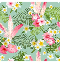Tropical flowers background seamless pattern vector