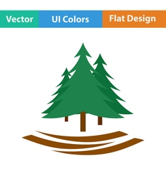 Flat design icon of fir forest vector