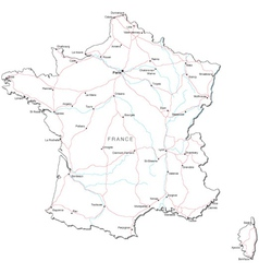 France black white map vector