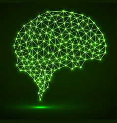 abstract polygonal brain with glowing dots and vector image vector image