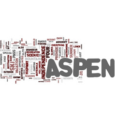 Aspen text background word cloud concept vector