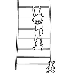 baby boy climbing on bookcase for coloring book vector image vector image