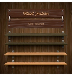 Blank wooden bookshelf vector