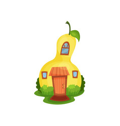 Bright cartoon house in form of yellow pear vector