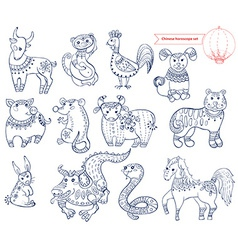 Chinese horoscope animals vector image