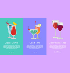 Classic and 3d drinks for free ro have good time vector