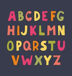 Colorful hand drawn doodle sans serif alphabet vector