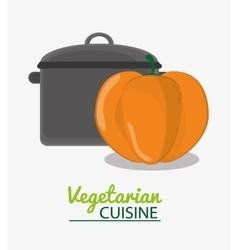 Cooking pot and pumpkin vegetable vegetarian vector