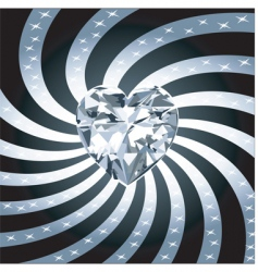 diamond heart rays vector image vector image