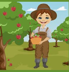 farmer little boy picking apples vector image