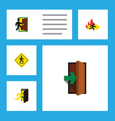 flat icon emergency set of evacuation fire exit vector image vector image