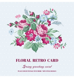 Floral shabby chic card - vintage design vector