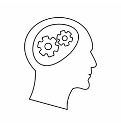 Gear in head icon outline style vector image