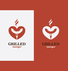 Grill bbq hotdog love symbol fast food logo vector