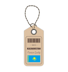 hang tag made in kazakhstan with flag icon vector image vector image