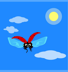 Ladybird flying in the sky in flat style vector