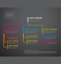 Modern organization chart template made from thin vector