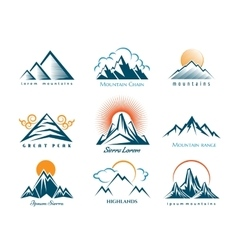 Mountain logo set vector
